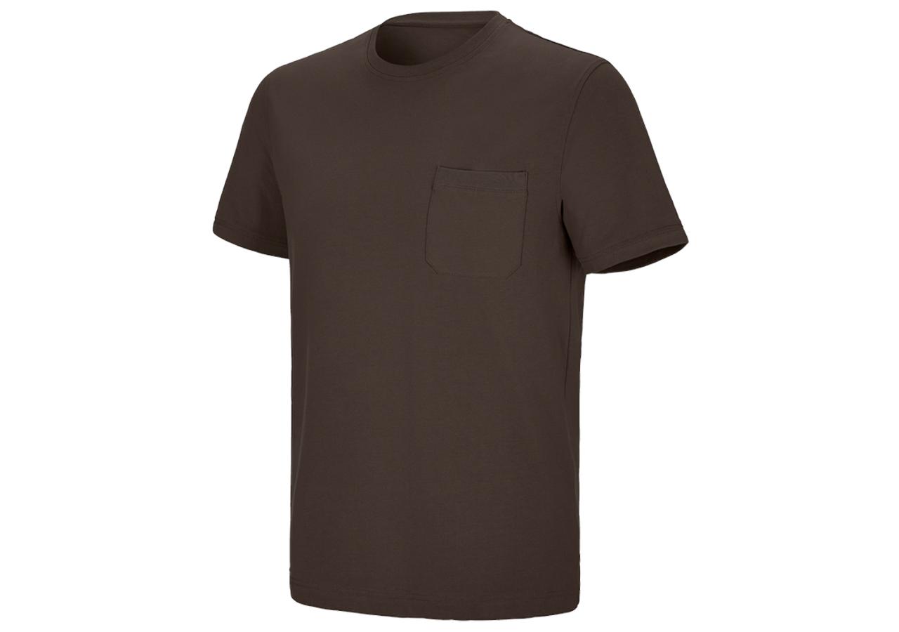 Shirts & Co.: T-Shirt cotton stretch Pocket + kastanie