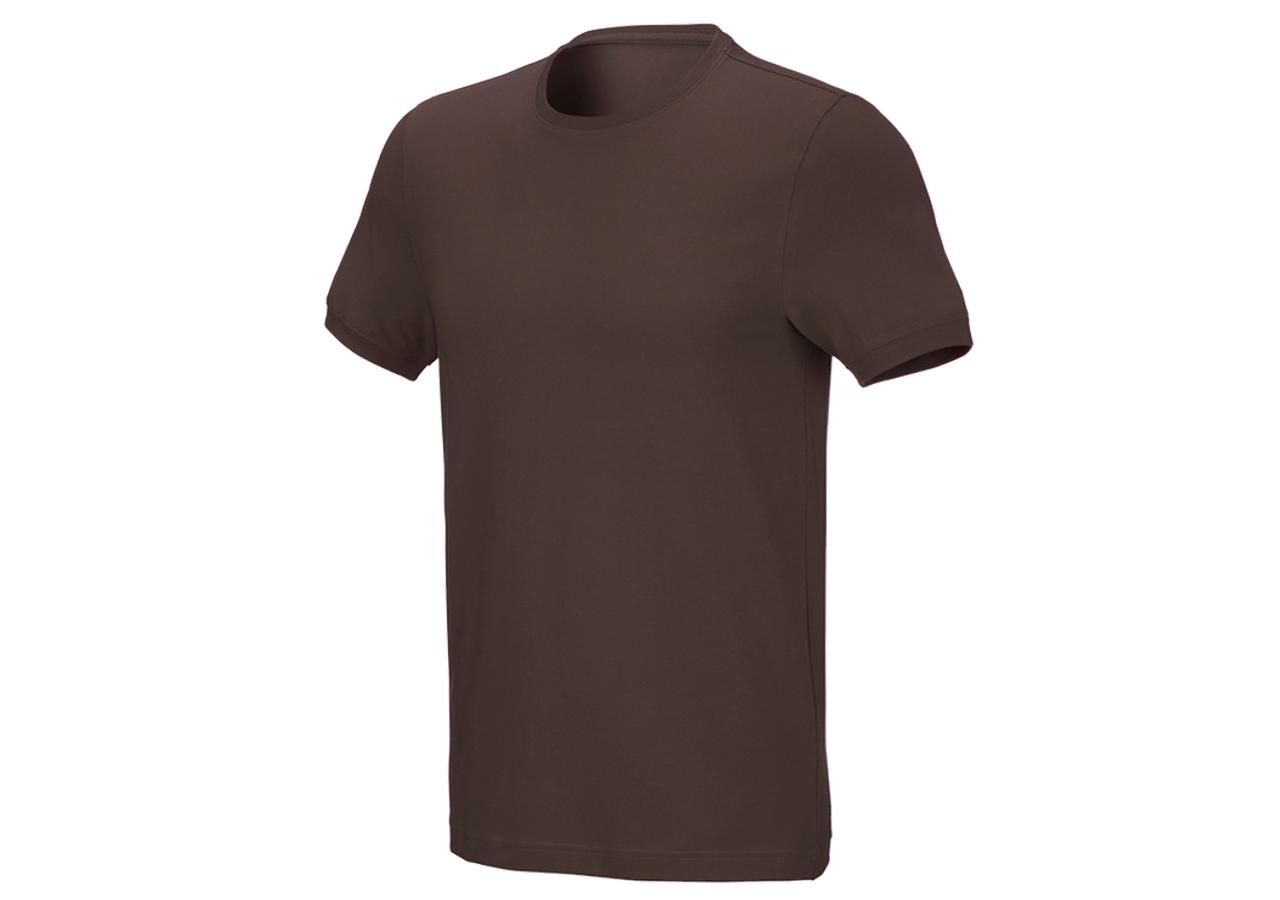 Shirts & Co.: T-Shirt cotton stretch, slim fit + kastanie