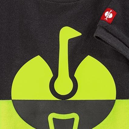 Bovenkleding: e.s. Pique-Shirt colourblock, kinderen + zwart/signaalgeel 2