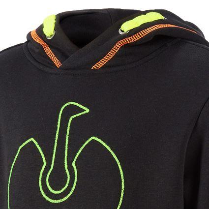 Bovenkleding: Hoody-Sweatshirt e.s.motion 2020, kinderen + zwart/signaalgeel/signaaloranje 2