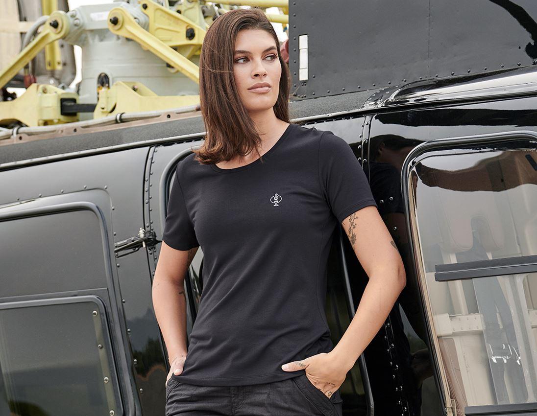 Bovenkleding: Modal-shirt e.s. ventura vintage, dames + zwart