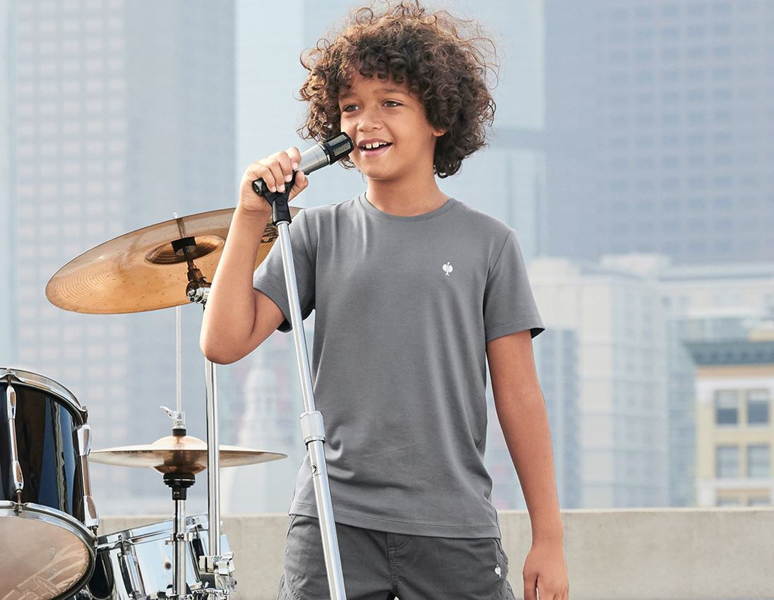 Bovenkleding: Modal-shirt e.s. ventura vintage, kinderen + bazaltgrijs