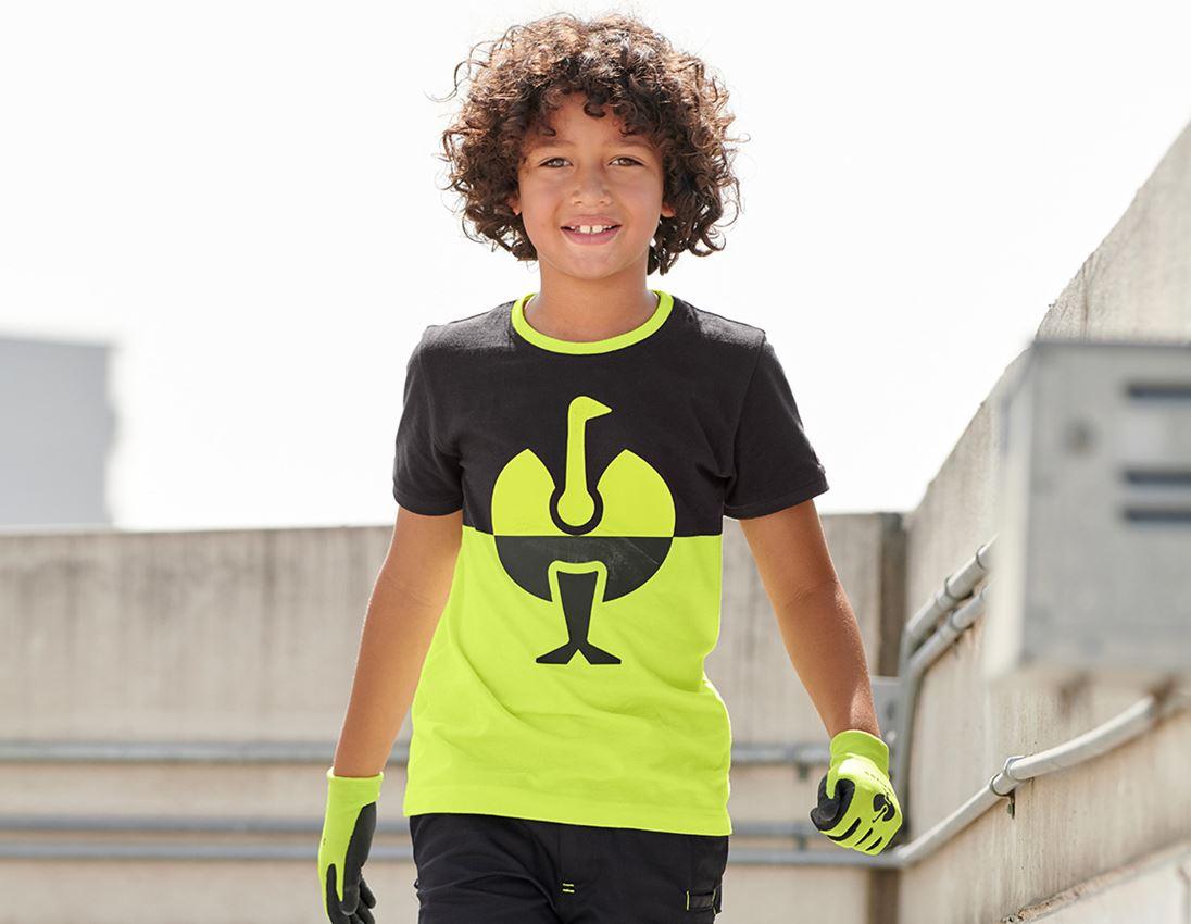 Bovenkleding: e.s. Pique-Shirt colourblock, kinderen + zwart/signaalgeel