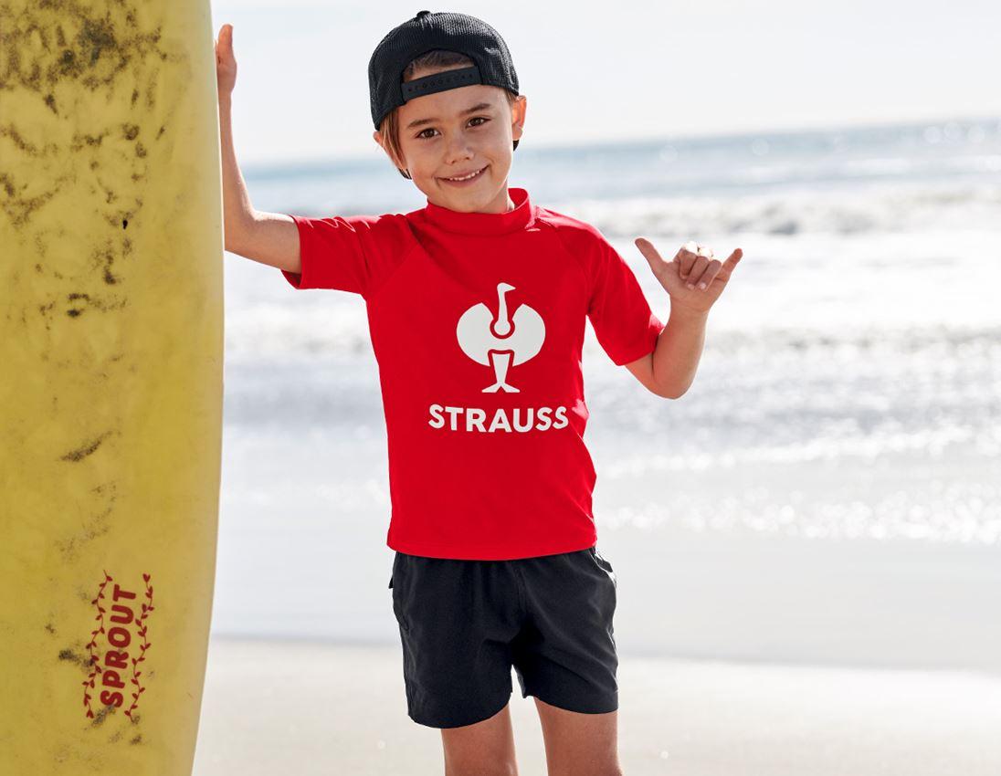 Bovenkleding: e.s. aqua-UV-shirt, kinderen + strauss rood