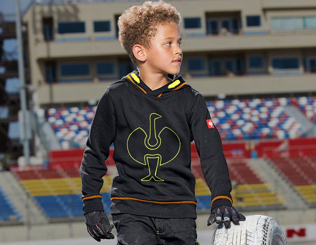 Bovenkleding: Hoody-Sweatshirt e.s.motion 2020, kinderen + zwart/signaalgeel/signaaloranje