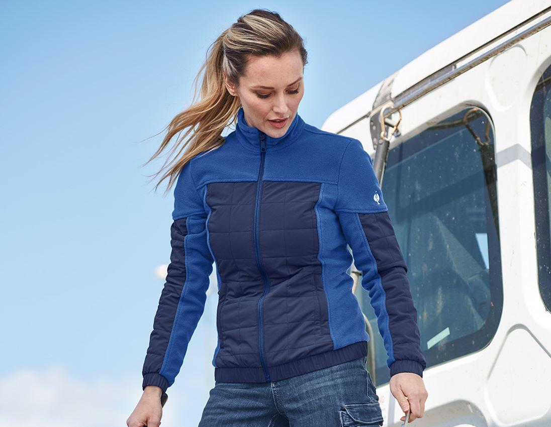 Werkjassen: Hybride fleecejack e.s.concrete, dames + alkalisch blauw/diepblauw