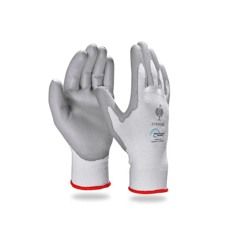 Beschichtet: e.s. PU-Handschuhe recycled, 3 Paar + grau/weiß