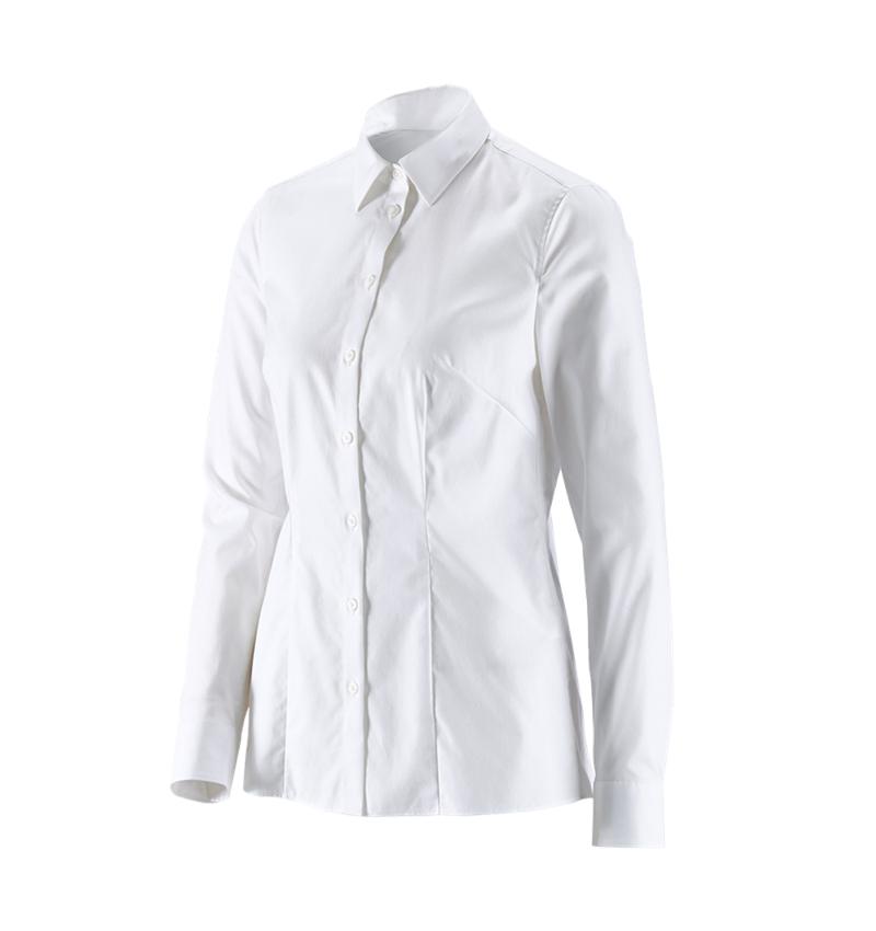 Shirts & Co.: e.s. Business Bluse cotton stretch, Damen reg. fit + weiß