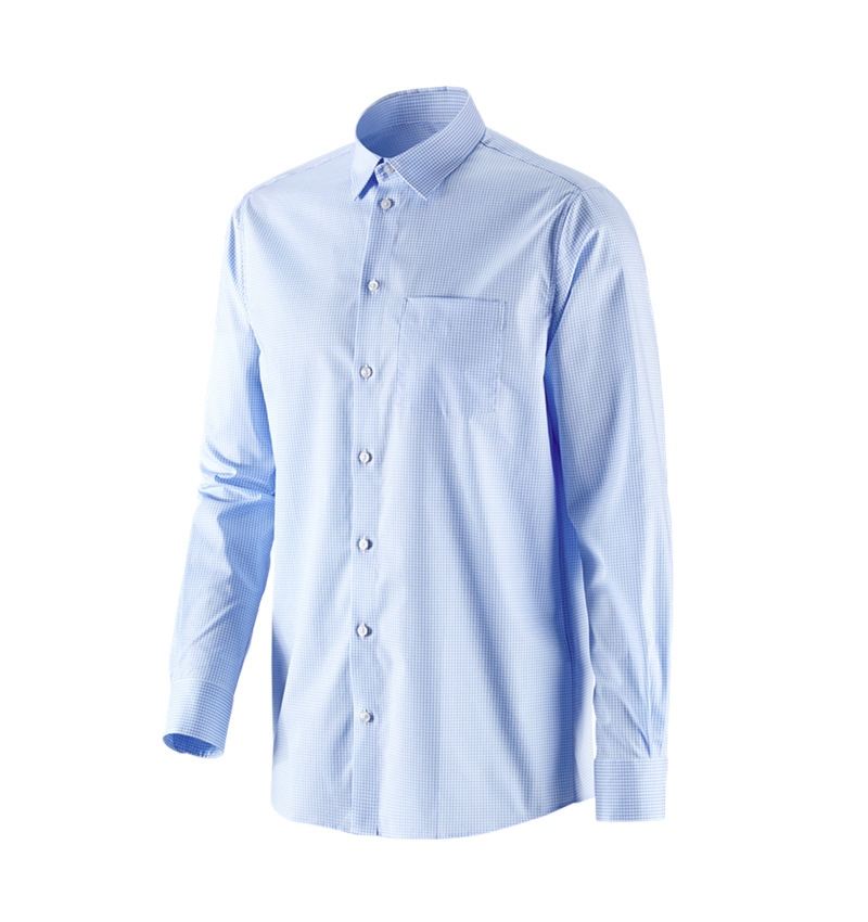 Bovenkleding: e.s. Business overhemd cotton stretch, comfort fit + vorstblauw geruit