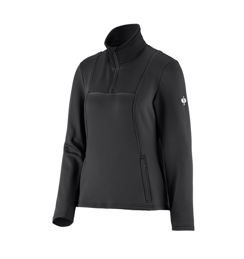 Shirts & Co.: Funktions-Troyer thermo stretch e.s.concrete,Damen + schwarz