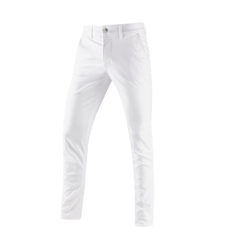 Hosen: e.s. 5-Pocket-Berufshose Chino + weiß