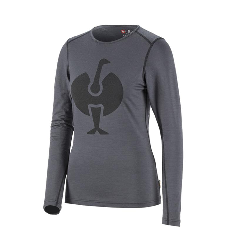 Thermo Ondergoed: e.s. Longsleeve Merino, dames + cement/grafiet