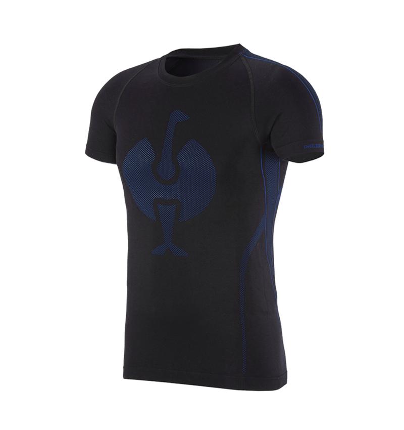 Ondergoed   Thermokleding: e.s. T-shirt seamless - warm + zwart/gentiaanblauw