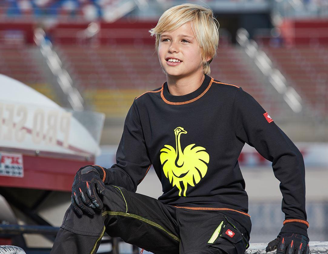 Bovenkleding: Sweatshirt e.s.motion 2020, kinderen + zwart/signaalgeel/signaaloranje