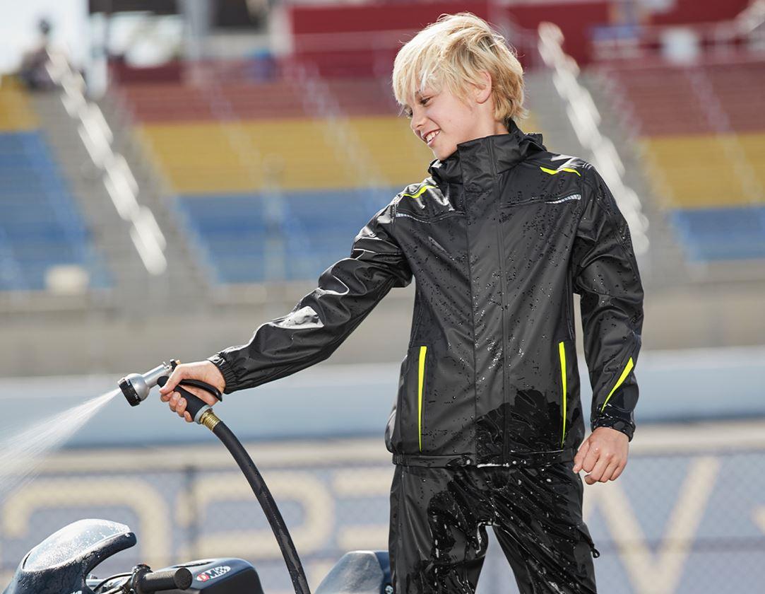 Jassen: Regenjack e.s.motion 2020 superflex, kinderen + zwart/signaalgeel/signaaloranje