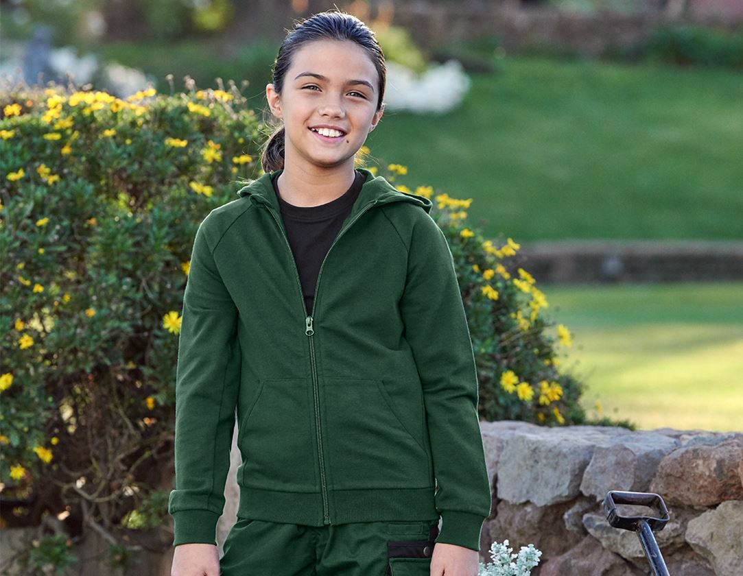 Bovenkleding: e.s. hoody-sweatjack cotton stretch, kinderen + groen