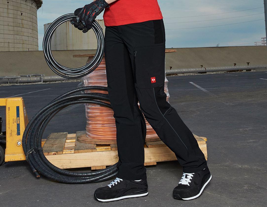 Werkbroeken: Cargobroek e.s.vision stretch, dames + zwart