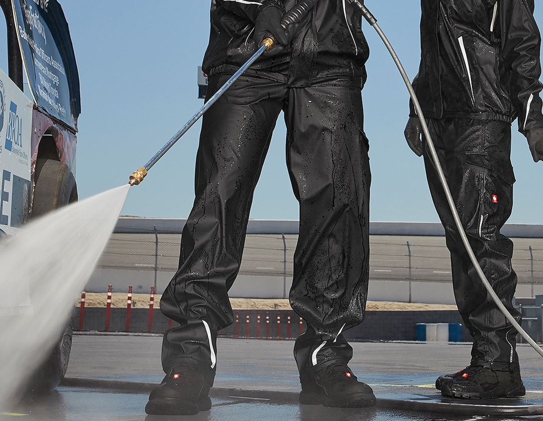 Werkbroeken: Regenwerkbroek e.s.motion 2020 superflex + zwart/platina
