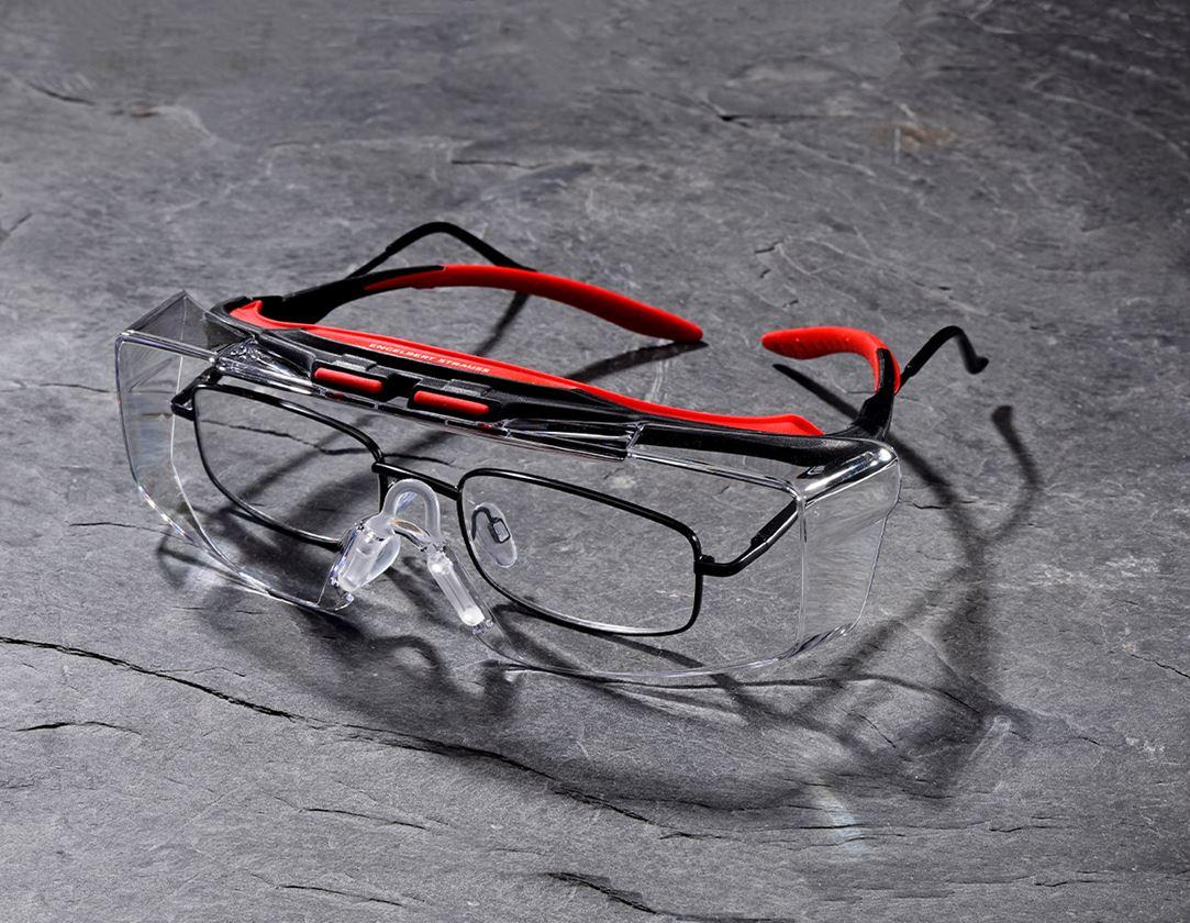 Veiligheidsbrillen: e.s. veiligheids-/voorzetbril Loras + helder/rood/zwart