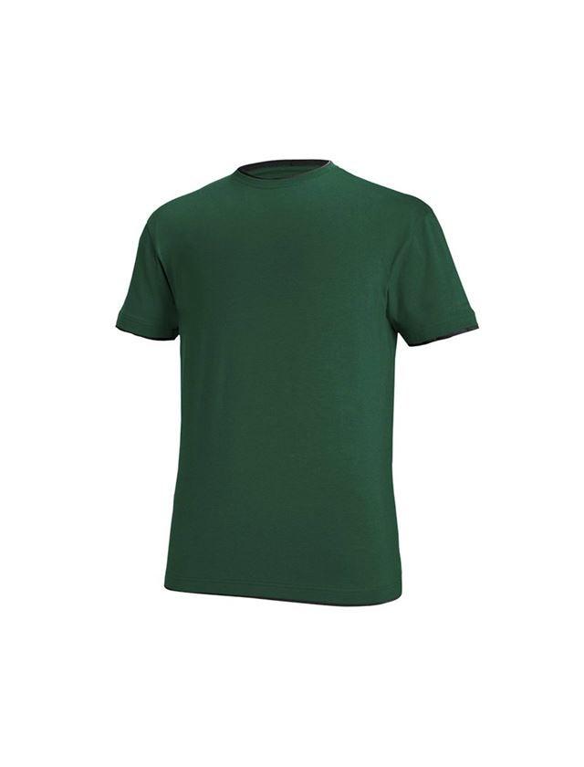Shirts & Co.: e.s. T-Shirt cotton stretch Layer + grün/schwarz