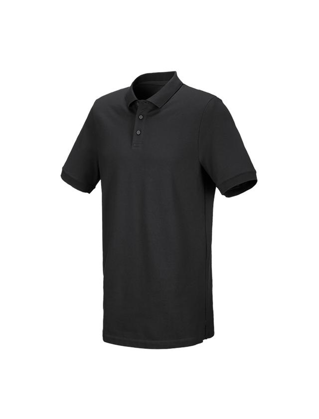 Bovenkleding: e.s. Piqué-Polo cotton stretch, long fit + zwart