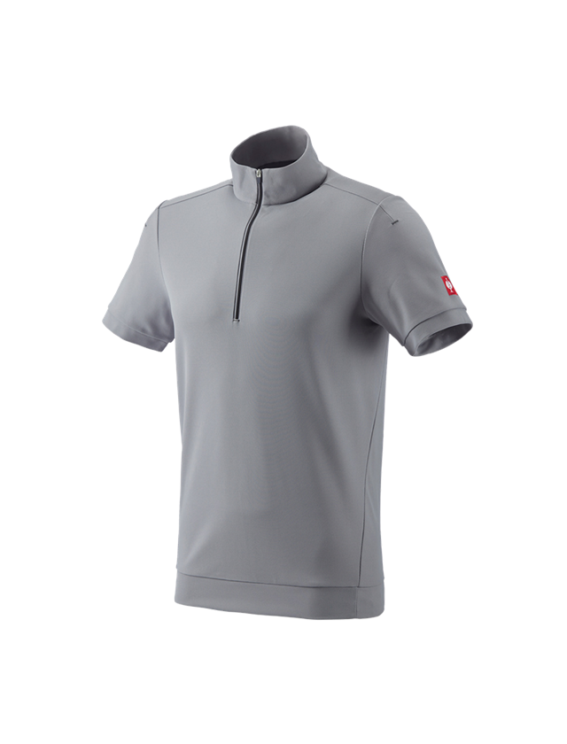 Shirts & Co.: e.s. Funktions ZIP-T-Shirt UV + platin/anthrazit