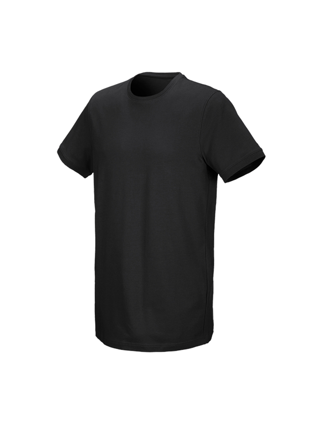 Shirts & Co.: e.s. T-Shirt cotton stretch, long fit + schwarz
