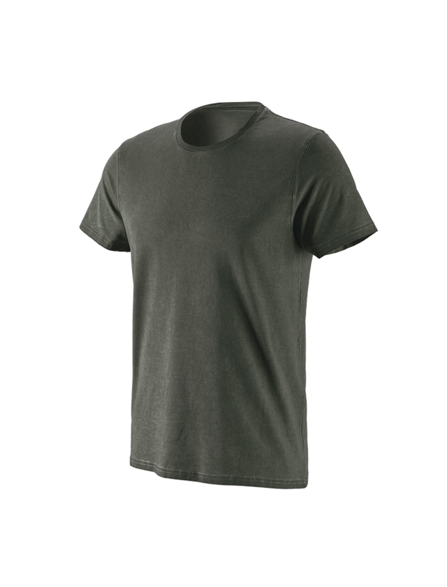 Shirts & Co.: e.s. T-Shirt vintage cotton stretch + tarngrün vintage