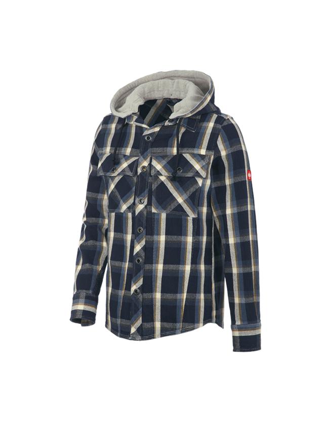 Shirts & Co.: Kapuzenhemd e.s.roughtough + nachtblau/stahlblau/natur/weizen