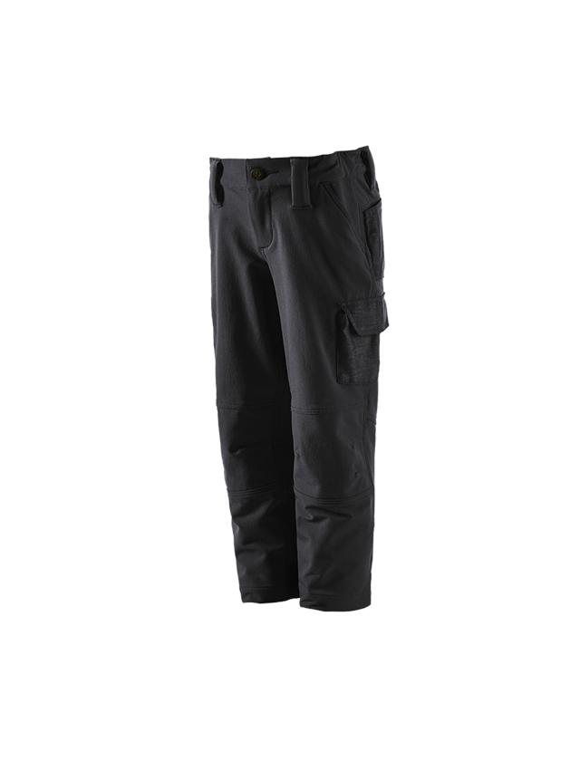 Broeken: Winter funct.cargobroek e.s.dynashield solid,kind. + zwart