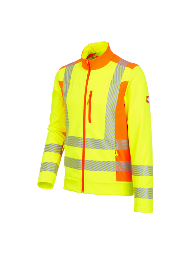 Werkjassen: Veiligheidssoftshelljack softlight e.s.motion 2020 + signaalgeel/signaaloranje