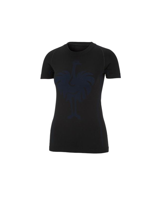 Thermo Ondergoed: e.s. Functionele-T-Shirt seamless-warm, dames + zwart/gentiaanblauw
