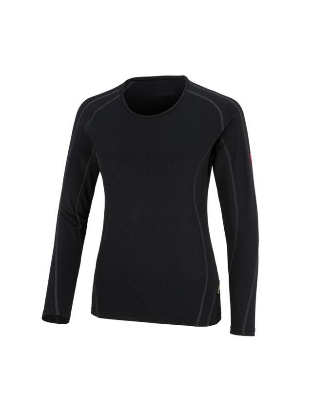 Thermo Ondergoed: e.s.Funct.-Longsleeve clima-pro - warm, dames + zwart
