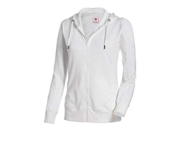 Bovenkleding: e.s. Hoody-Sweatjack poly cotton, dames + wit