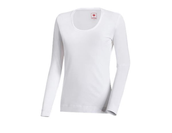 Bovenkleding: e.s. Longsleeve cotton stretch, dames + wit