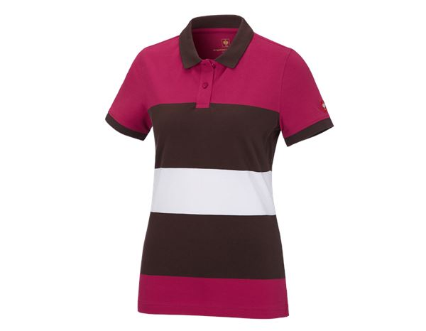 Bovenkleding: e.s. Pique-Polo cotton stripe, dames + bessen/kastanje