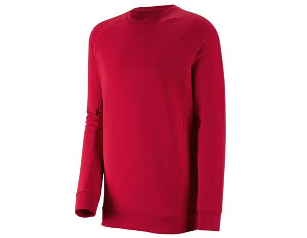 Truien / Sweaters: e.s. Sweatshirt cotton stretch, long fit + vuurrood