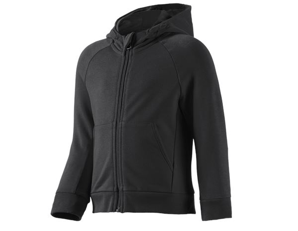 Shirts & Co.: e.s Hoody-Sweatjacke cotton stretch, Kinder + schwarz